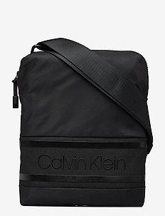 STRIPED LOGO FLAT CR - shoulder bags - ck black
