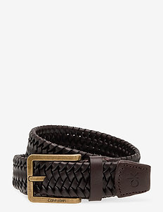 35MM BRAIDED FIXED LEATHER BELT - paski plecione - dark brown