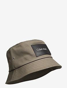 LEATHER PATCH BUCKET - bucket hats - dark olive