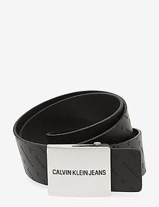 CKJ UNIFORM PLAQUE LTH 38 MM - classic belts - black w/ diagonal mono print