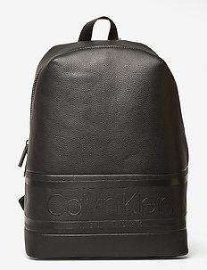 STRIPED LOGO PU ROUN - backpacks - ck black