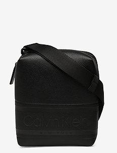 STRIPED LOGO PU MINI - shoulder bags - ck black
