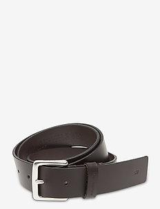 SQUARE LTH 35MM - belts - bitter brown