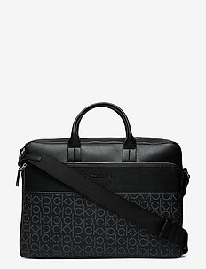 LAPTOP BAG W/ PCKT - laptop bags - black mono mix