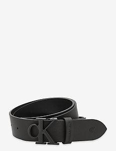 ROUNDED MONO PLAQUE BELT 35MM - ceintures classiques - black