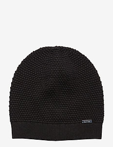 TRIPLE KNIT BEANIE, - BLACK