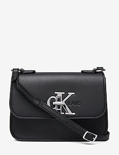 CKJ MONO HARDWARE FLAP CROSSBODY - BLACK