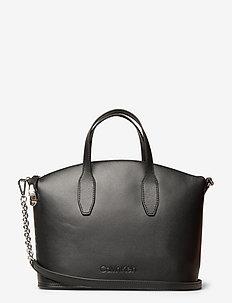LOCK DOMED TOTE - handbags - black