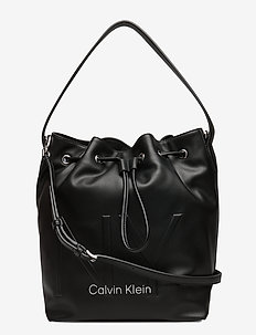 NY SHAPED DRAWSTRING - bucket bags - black