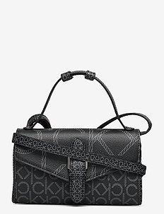WALLET MINI BAG W/FLAP MONO SCL - schultertaschen - black
