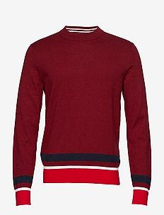 COLOR BLOCK COTTON W - round necks - iron red