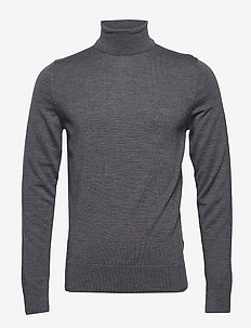 SUPERIOR WOOL TURTLE NECK - basic knitwear - mid grey heather