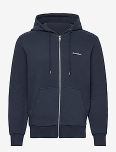 EMBROIDERY ZIP-THROUGH HOODIE - sweats à capuche - calvin navy