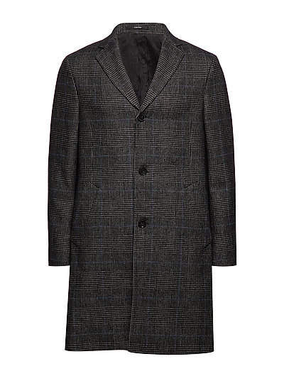 Wool Blend Glencheck Coat Wollmantel Mantel Schwarz CALVIN KLEIN