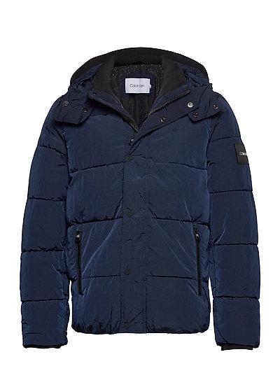 Crinkle Nylon Mid Length Jacket Gefütterte Jacke Blau CALVIN KLEIN | CALVIN KLEIN SALE