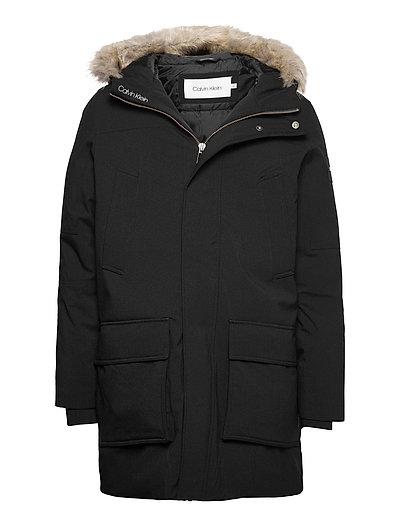 Premium Canvas Fur Hood Parka Parka Jacke Schwarz CALVIN KLEIN