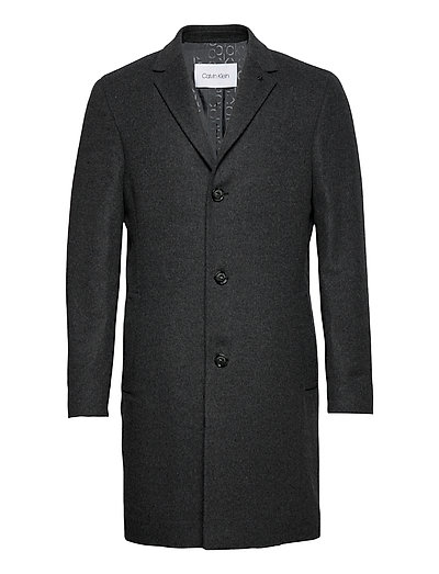 Wool Cashmere Crombie Coat Wollmantel Mantel Grau CALVIN KLEIN