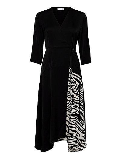 3/4 Slv Wrap Dress Maxikleid Partykleid Schwarz CALVIN KLEIN   CALVIN KLEIN SALE