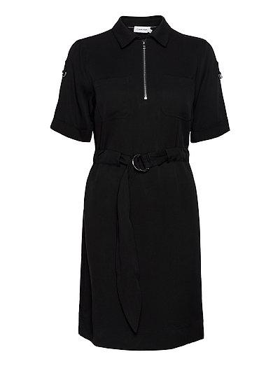 Tencel 3/4 Slv Zip Up Mini Dress Kleid Knielang Schwarz CALVIN KLEIN   CALVIN KLEIN SALE