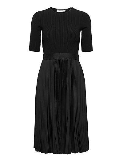 Ns Pleated Skirt Midi Dress Kleid Knielang Schwarz CALVIN KLEIN   CALVIN KLEIN SALE