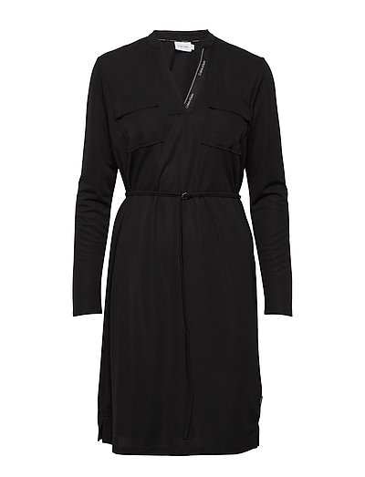 Ls V-Neck Pkt Jersey Shirt Dress Kurzes Kleid Schwarz CALVIN KLEIN   CALVIN KLEIN SALE