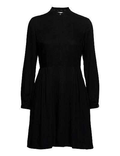 Viscose Twill Ls Button Dress Kleid Knielang Schwarz CALVIN KLEIN   CALVIN KLEIN SALE