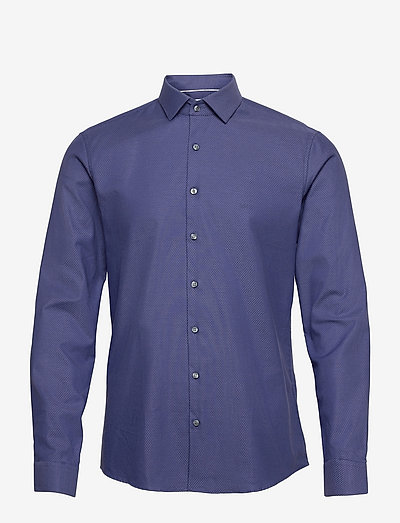 STRUCTURE STRETCH SLIM SHIRT - linnen overhemden - estate blue