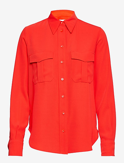 Calvin Klein Smooth Twill Police Pkt Shirt Ls- Bluzki & Koszule Cherry Red