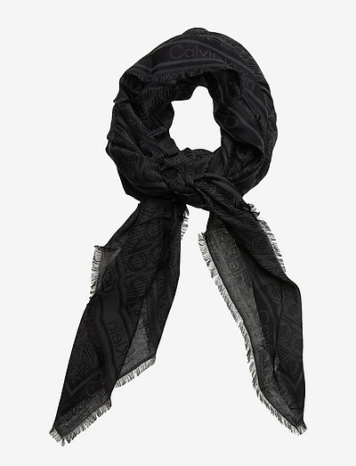 CK MONO J SCARF 130x130 - tynde tørklæder - black mix