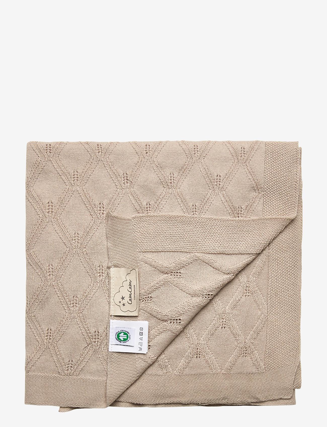 Cam Cam Copenhagen - Leaf Knit Blanket - blankets & quilts - sand - 1
