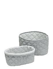 Quilted Storage Basket, Set of 2 - OCS Blossom Pink - GREY