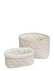Quilted Storage Basket, Set of 2 - OCS Blossom Pink - LIGHT SAND