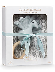 Gift Box with Swaddle and Peacock Rattle - SWADDLE: GREY WAVE RATTLE: BLUE MIST