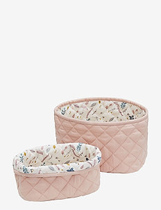 Quilted Storage Basket Set of 2 - storage - blossom pink