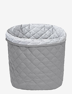 Medium Quilted Storage Basket - decor - grey