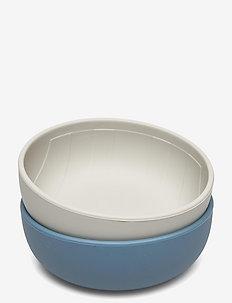 Silicone Bowls Rainbow, Blue Mix, 2-pack - borden & kommen - midnight blue
