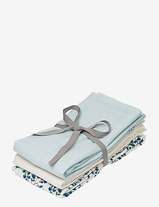 Muslin Cloth Mix 3 Pack - musselinklær - 1:  fiori 1: light blue 1: cream white