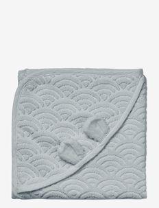 Towel, Baby, hooded w/ ears, 80x80cm - GOTS Petroleum - bademode - classic grey