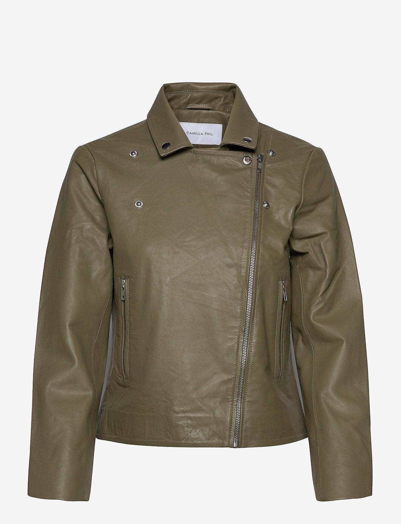 Camilla Pihl - Kendra Leather Jacket - skinnjackor - army - 0