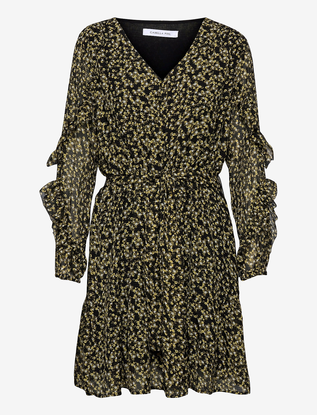 Camilla Pihl - Angelina Dress - midi dresses - black flower - 0