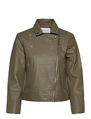 Kendra Leather Jacket - ARMY