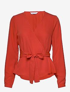 Luck wrap top - bluzki dlugim rekawem - bright red