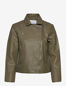 Kendra Leather Jacket - skinnjackor - army