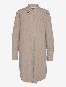 Long - džinsiniai marškiniai - beige stripe