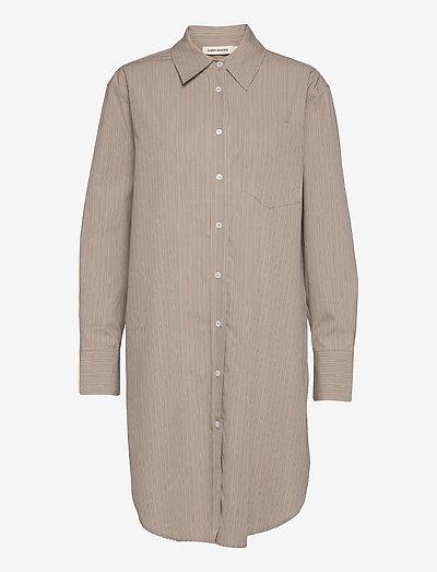 Long - jeansskjortor - beige stripe