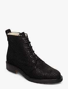 BOOTS - BLACK MUSTANG SNAKE SUEDE 100