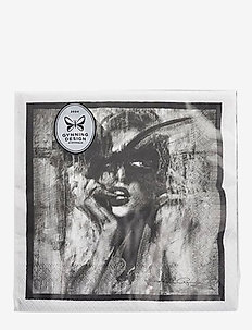 Napkin Looking for you 20 pc - servietter - black/white