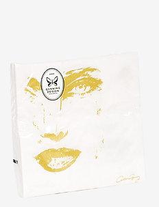 Napkin Pice of me vit/guld 20 pc - servietter - white/gold