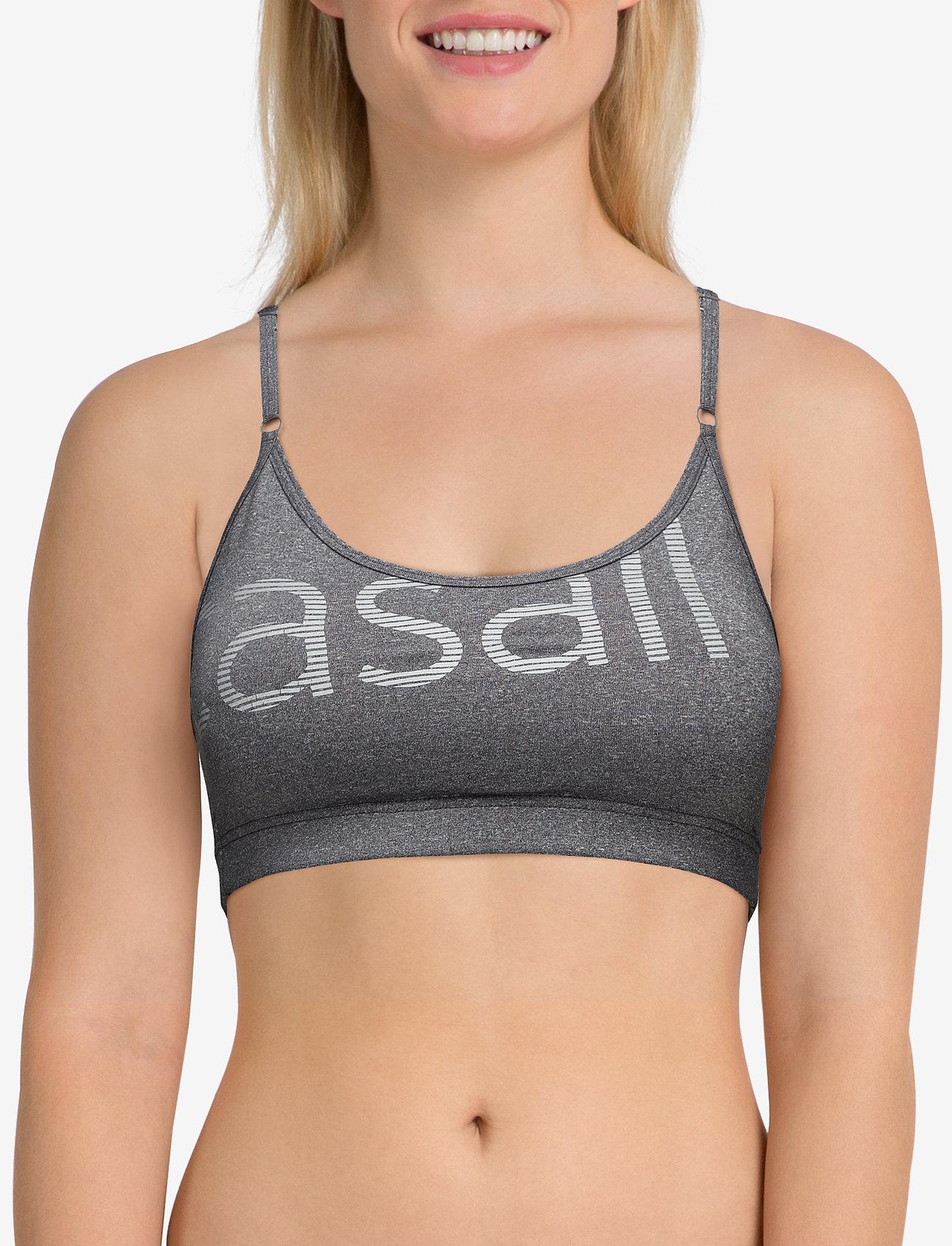 Casall Glorious sports bra - DK GREY MELANGE/SILVER