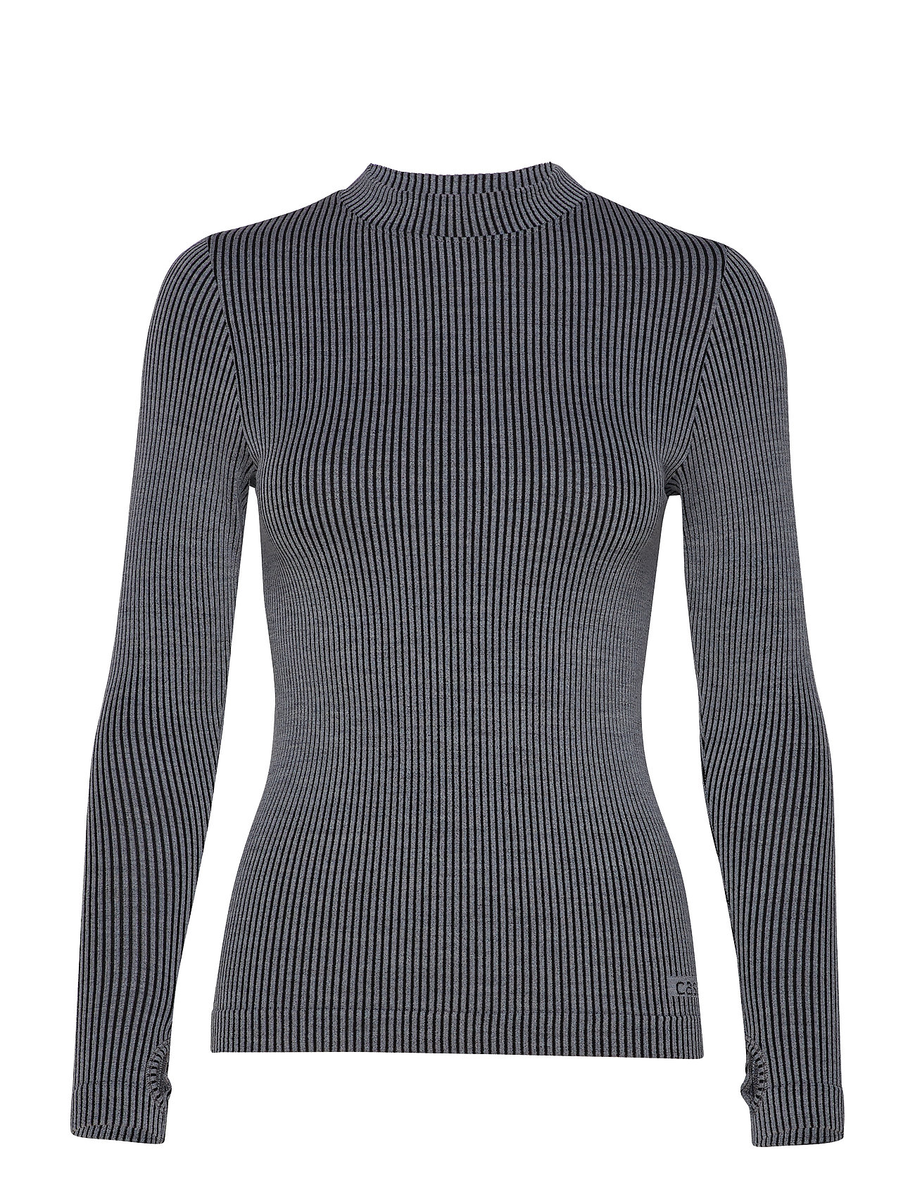 Casall Wool Rib Long Sleeve - BLACK GREY RIB